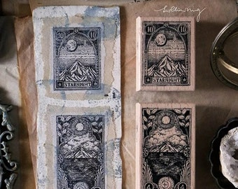 Nature Inspired Design Mountain Ligneous Stamp for Crafting and Journaling Tree Specimen Wooden Stamps Set Lin Chia Ning Crystals