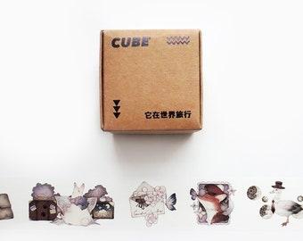 World Craft Black /& White Cat Washi Kawaii Neko Washi Made in Japan Mint Background Kitten Masking Tape