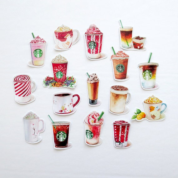 Winter Cafe Drinks Sticker Pack Cappuccino Mint Latte