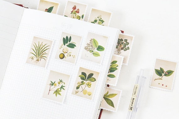 45Pcs//box Paper Peel-Off Floral Flower Botanical Leaf Inspired Stickers 6A