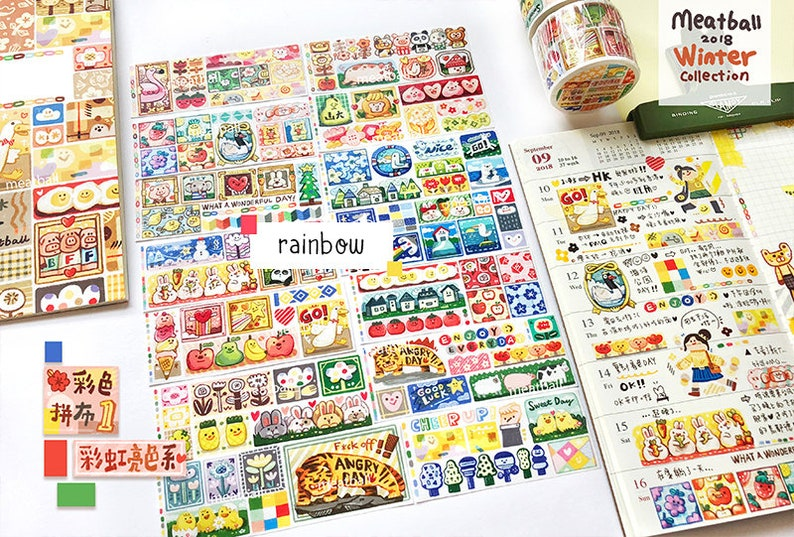 Doodle Masking Tape Deco Tape for Bullet Journal Meatball Series Washi Tape Roll Meatball Color Patchwork Washi Tape Rainbow