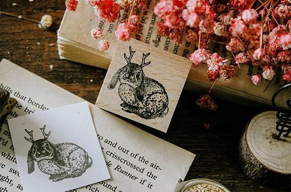 Scrapbook Animal Ligneous Stamp for Journaling Crafting Rabbit Jackalope Wooden Rubber Stamp