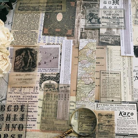 Junk journaling materiales efímeros Pack diario Kit 70 Piezas Vintage De Papel Craft Supplies