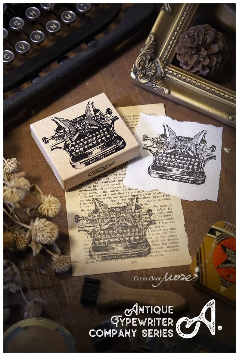 Bullet Journal Lin Chia Ning Large Typewriter Wooden Stamp and Labels Set A Vintage Typewriter Gummed Label Junk Journal