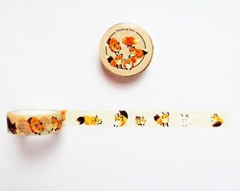 Fox Washi Tape, Playful Fox Washi Roll, Scrapbook Supplies, Happy Planner, Deco Tape, Masking Tape
