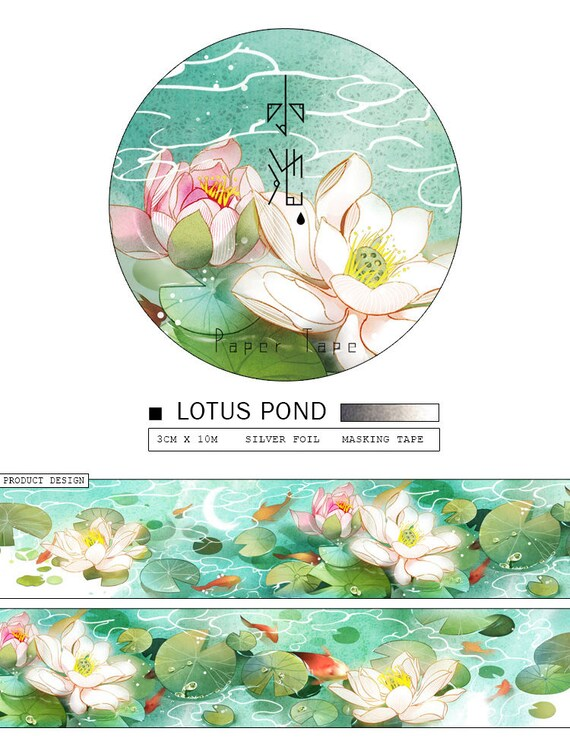 Flower Washi Sample Lotus Flower Silver Foil Floral Washi Etsy