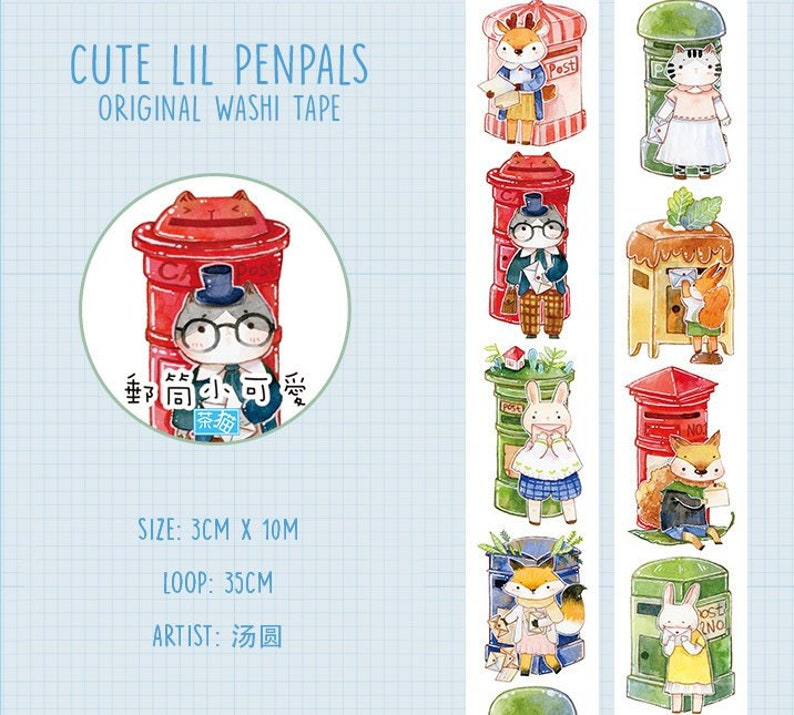 Cute Lil Penpals Washi Tape Sample, Snail Mail, Mailbox Washi Tape Sampler,  Animals, Letters, Decorative Tape for Bullet Journal, Planner