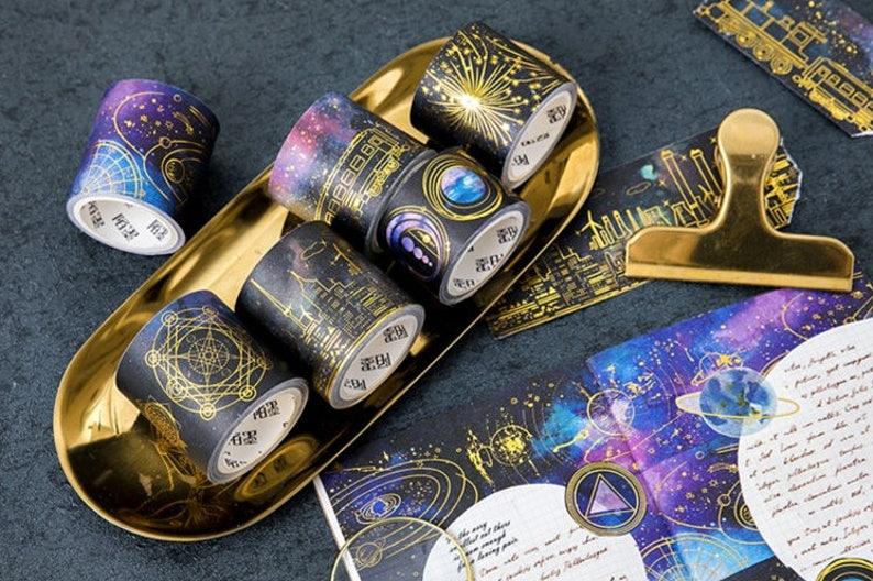 Galaxy Washi Tape, Stars Gold Foil Washi Roll, Space Washi, Masking Tape,  Deco Tape