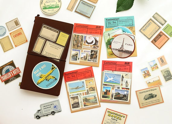 Travelers Notebook Stickers Travel Sticker Pack Etsy