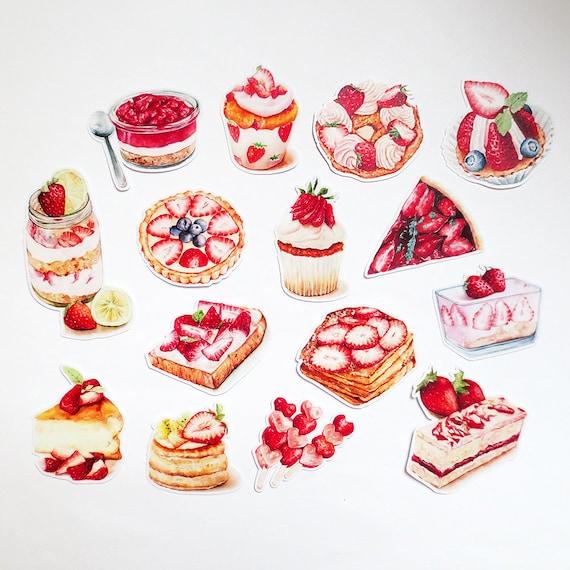 Strawberry dessert sticker pack strawberry shortcake parfait sweets pie stickers pie die cut sticker set tea from papergameco on etsy studio