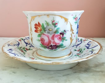 Antique French Large tea breakfast cup and saucer Porcelain Paris 19th Century Hand painted. Late 1800s teacup