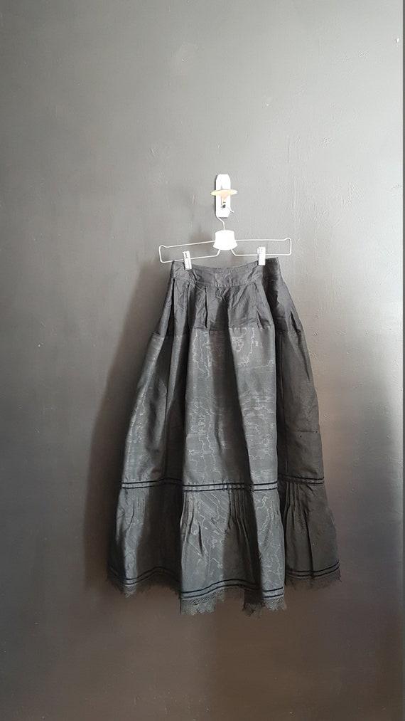 Antique French black moiré skirt petticoat