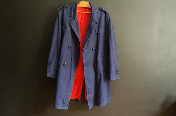 Vintage French double breasted work jacket pea coa