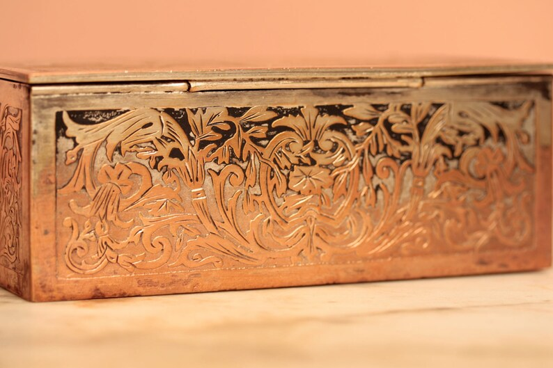 Shabby chic copper silver plate engagement marriage jewelry box