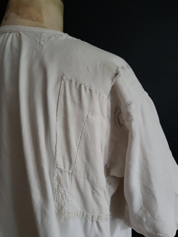 French antique patched nightdress. Boro repair - image 9
