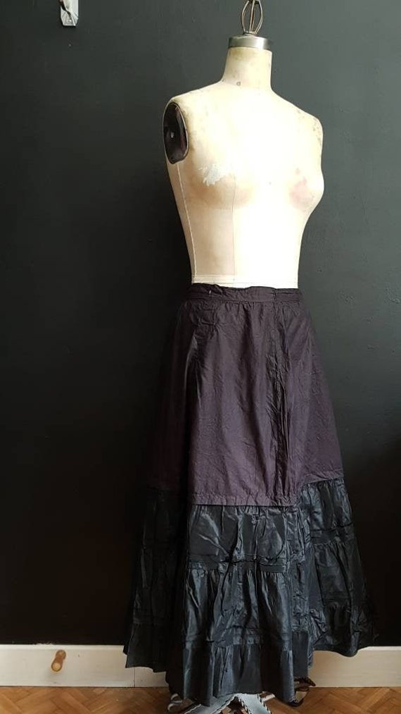 Antique French black skirt petticoat