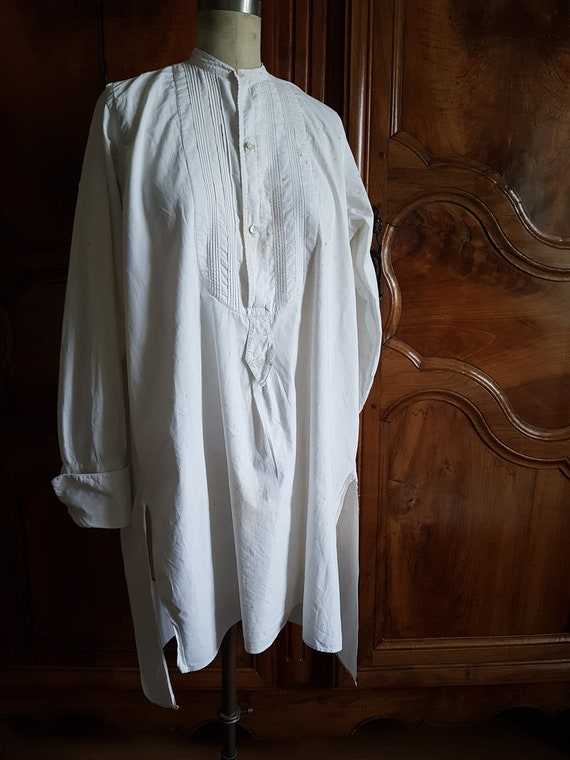 Antique French mens cotton formal shirt