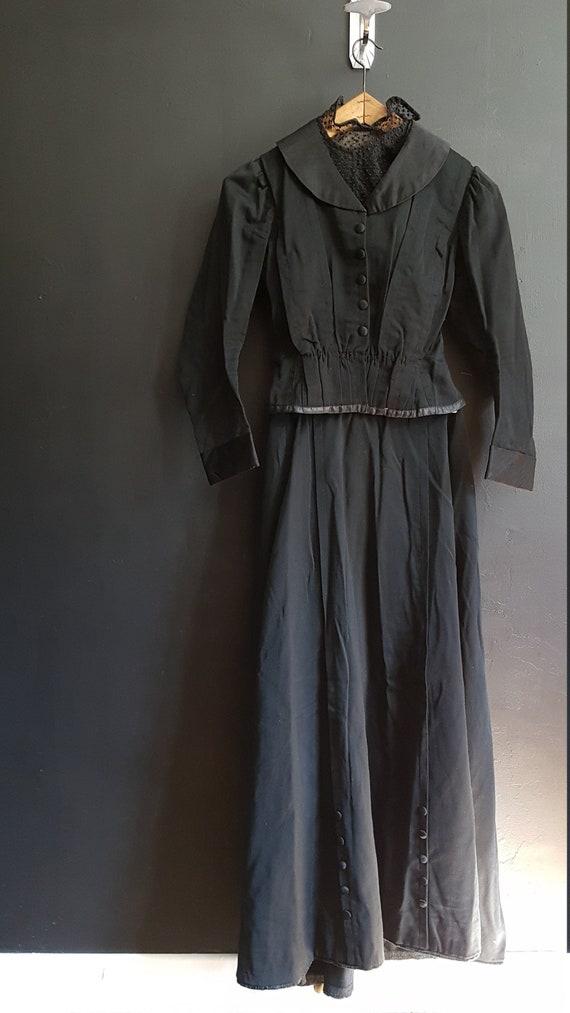 French Vintage Black Victorian ladies ensemble / w