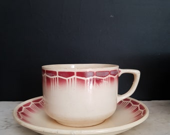 French antique breakfast cup and saucer