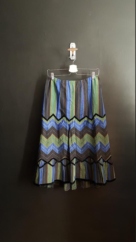 Antique French Petticoat. Stripy skirt