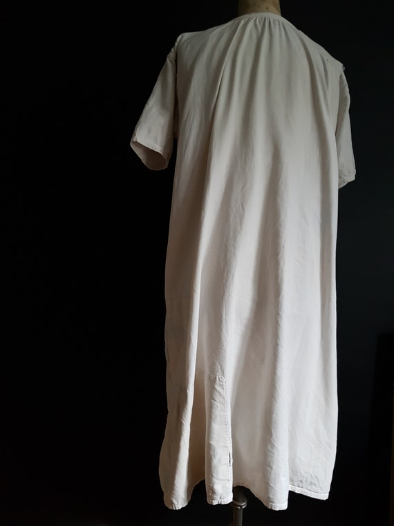 French antique patched nightdress. Boro repair - image 8