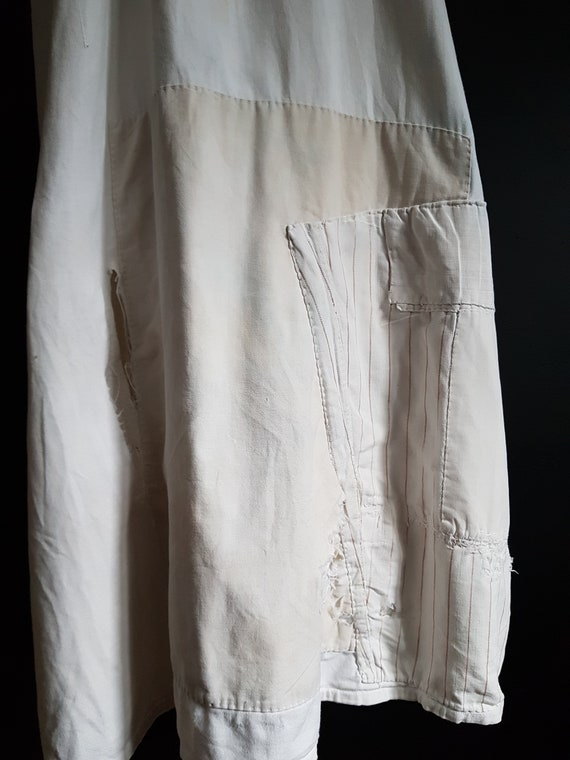 French antique patched nightdress. Boro repair - image 2