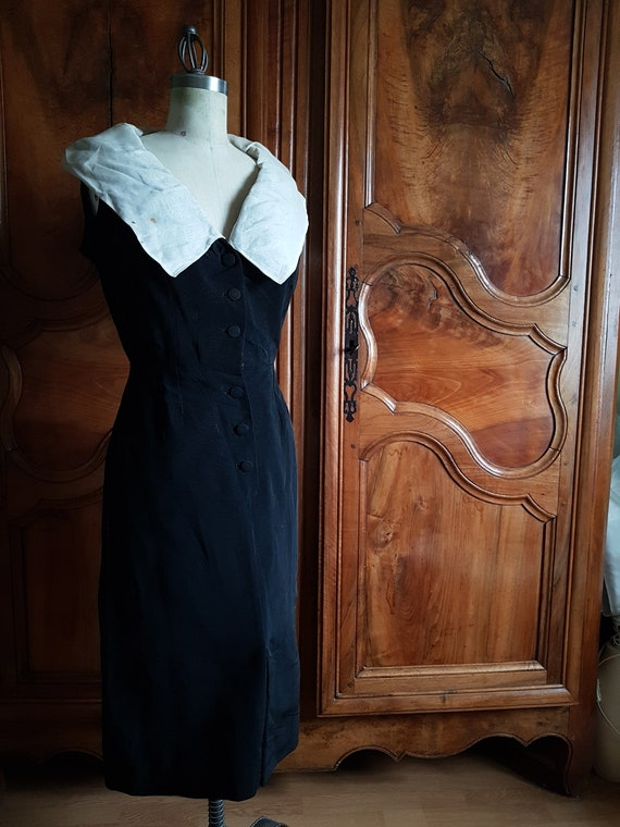 Black and white vintage pencil dress 1940s/50s. H… - image 1