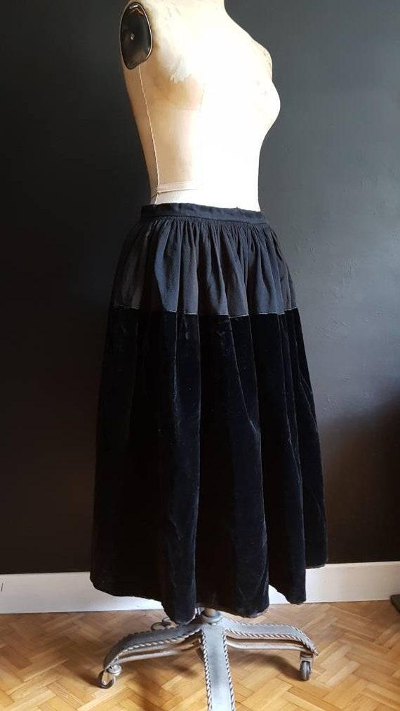 Vintage French black velvet skirt traditional blac