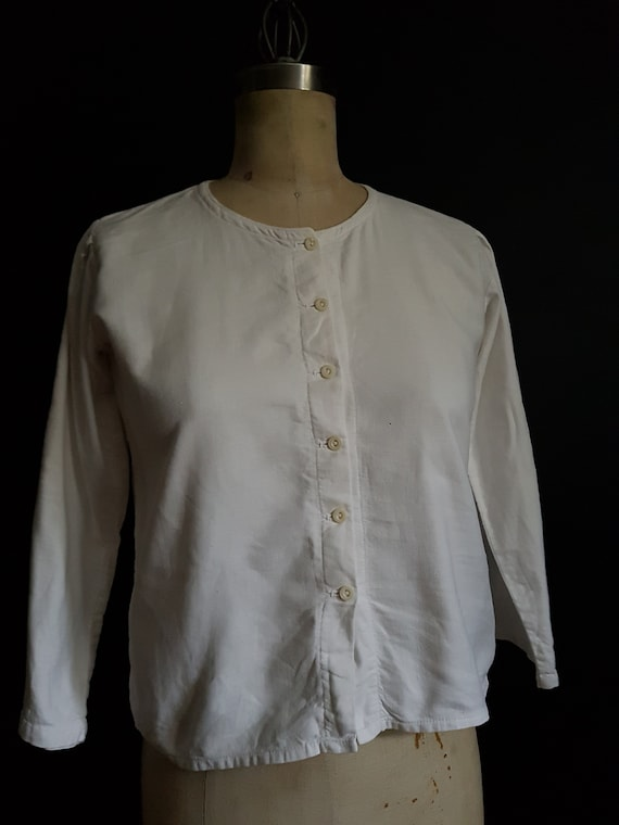 French antique cotton blouse / work shirt