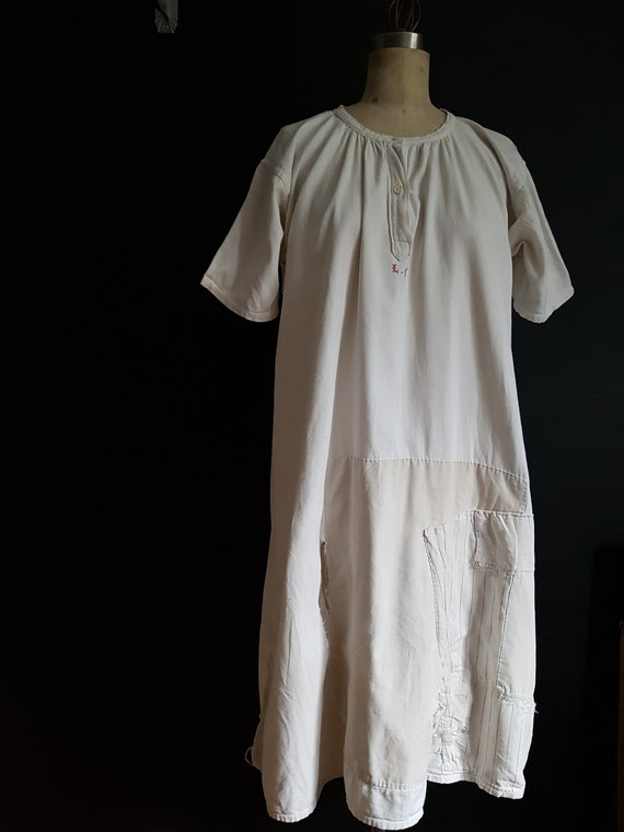 French antique patched nightdress. Boro repair