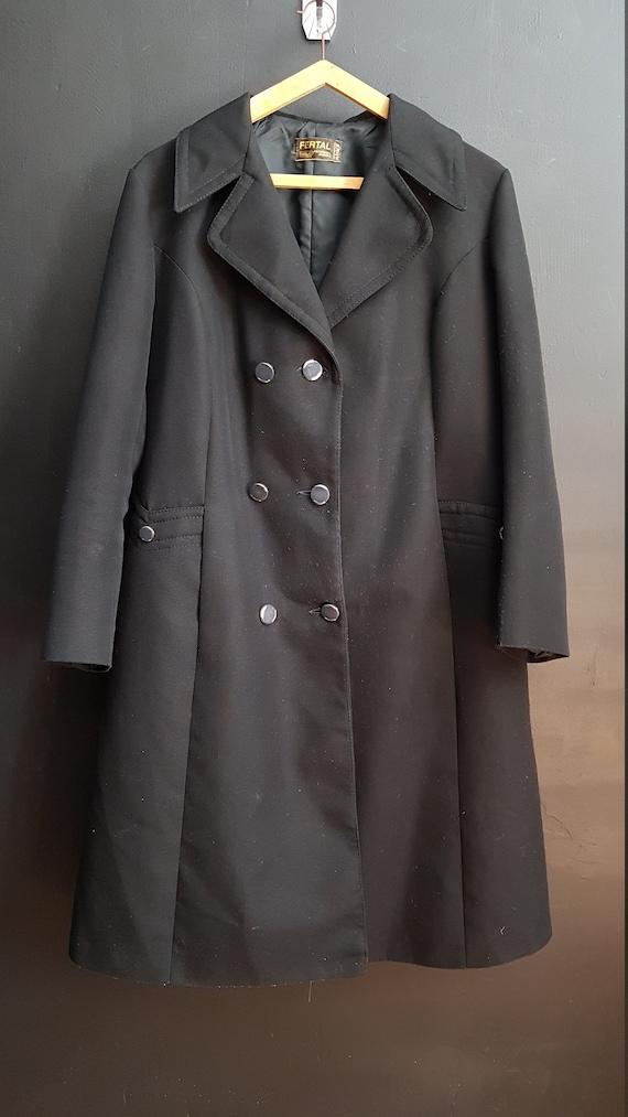 Vintage French black overcoat raincoat