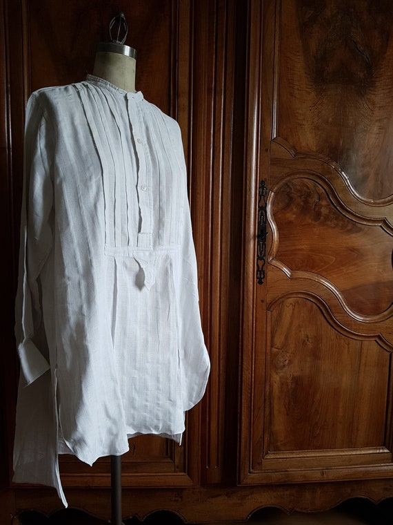 Antique French mens summer shirt. Boro patchwork