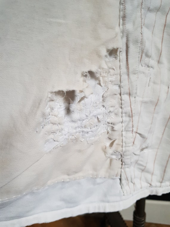 French antique patched nightdress. Boro repair - image 3