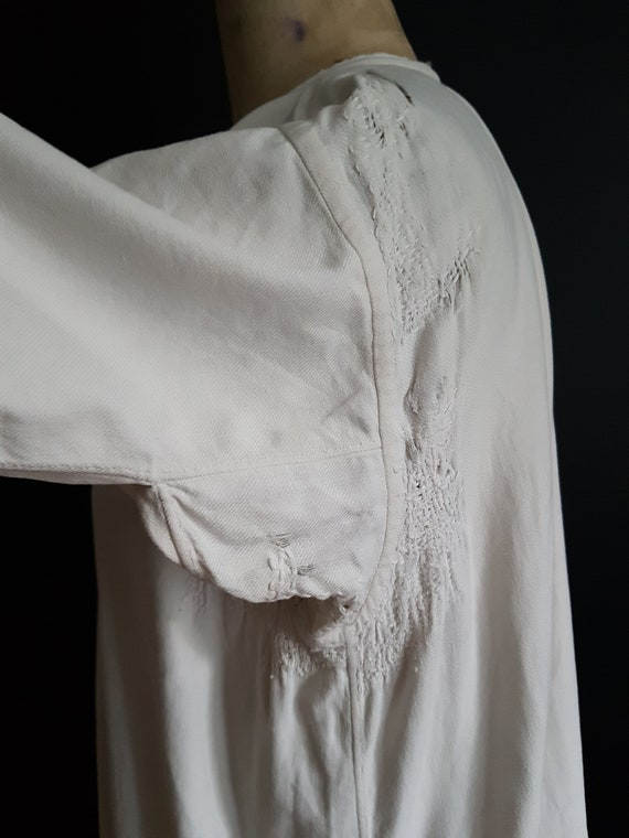 French antique patched nightdress. Boro repair - image 7