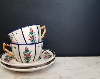 Antique French pair of large tea / café au lait cups and saucers. HB Quimper 222