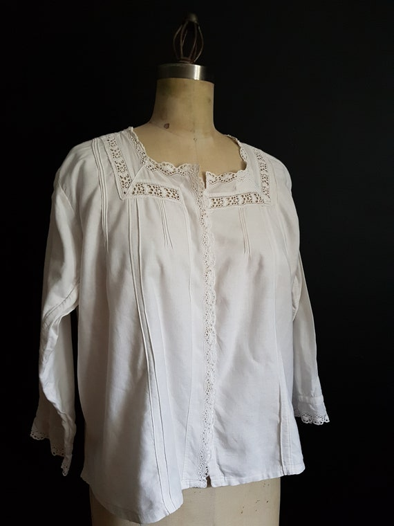 French antique blouse / bed jacket / white shirt