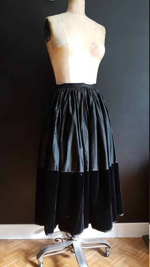 Vintage French black velvet skirt traditional Bret