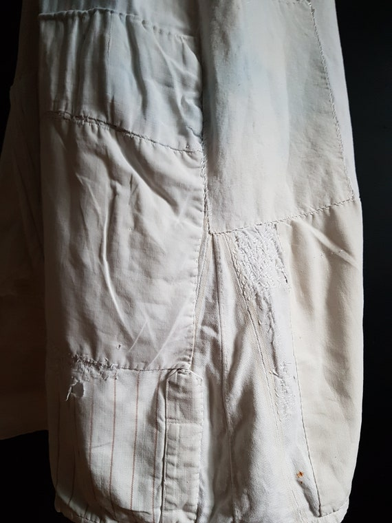 French antique patched nightdress. Boro repair - image 6
