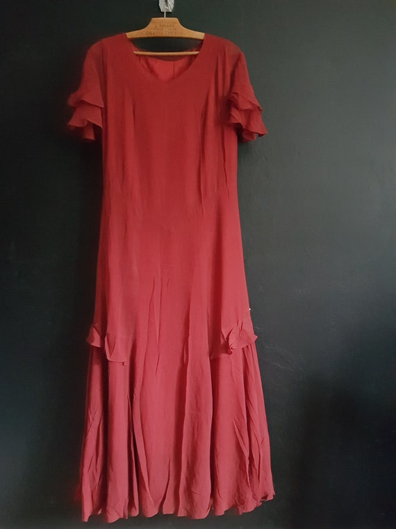 Antique red silk dress and slip 1930s