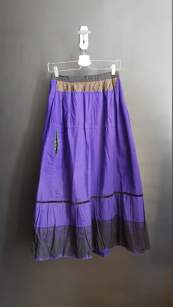 Antique French Petticoat Dress / chore wool skirt
