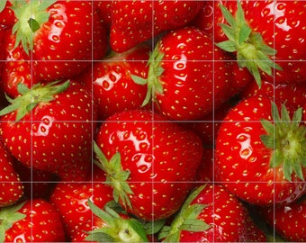 "Strawberries Ceramic Tile Mural 24"" x 36"" Kitchen Backsplash Wall"
