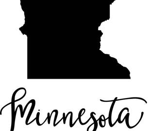 Minnesota State Map Digital File: SVG PNG Jpg Eps Vector Graphic Clip Art MN  Outline Minnesota Home State   Great State Geography Outline