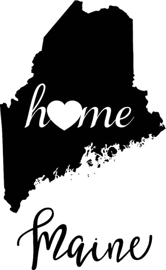 Maine State Map Digital File Svg Png Jpg Eps Vector Graphic Etsy