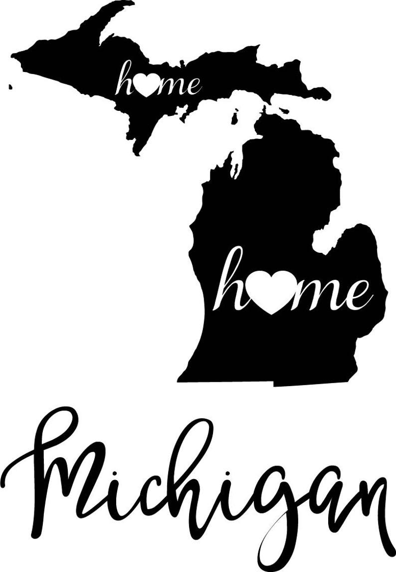 Michigan State Map Digital File Svg Png Jpg Eps Vector Etsy