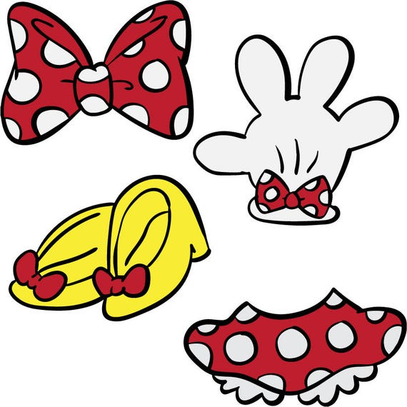 Mini Mouse Parts Svg Dxf Jpg Png Eps File Minnie Bow Etsy