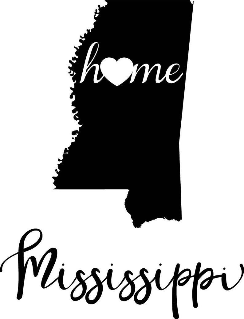 Mississippi State Map Outline.Mississippi State Map Digital File Svg Png Jpg Eps Vector Etsy