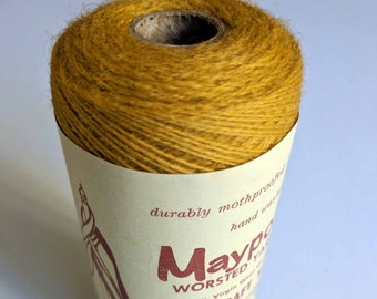 VINTAGE WOOL/Mustard Yellow Yarn Fiber Cone/Tapestry/Wall Hanging Kit/Weaving/Knitting/Crochet/Fiber Arts/Maypole/100% Virgin Wool/2ply Wool