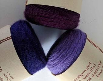 VINTAGE WOOL / Purple Berry Lavender Yarn/Tapestry/Wall Hanging Kit/Weaving/Knitting/Crochet/Fiber Arts/Maypole/100% Virgin Wool/2-ply Wool