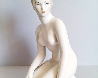 Vintage Hungarian Aquincum porcelain nude lady girl figurine stamped hand paint