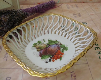 Vintage inwrought porcelain fruit bowl,candy plate,dish ,stamped